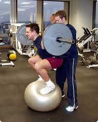 Squat on physioball